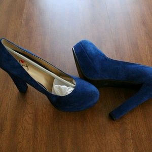 Luichiny Blue Suede High Heel Shoes New
